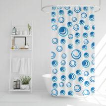 Zuhanyfüggöny-kék-fehér mintás-183 x 183 cm