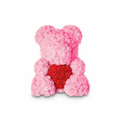 Rózsamaci rózsaszín, piros szívvel és díszdobozzal - 25 cm