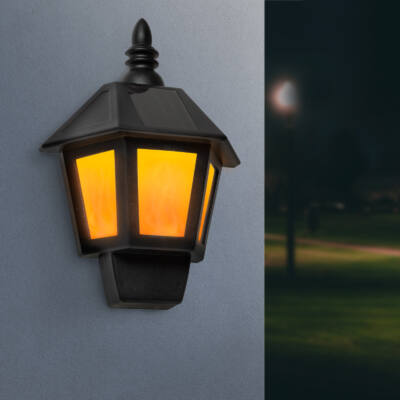 LED-es szolár fali lámpa lángeffekttel - hidegfehér