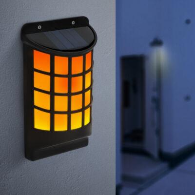 LED-es szolár fali lámpa lángeffekttel