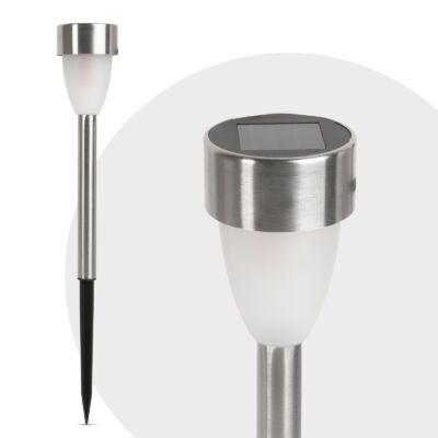 Leszúrható LED szolár lámpa (fém, hidegfehér) 12 db