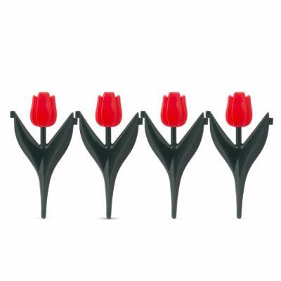 Piros tulipán virágágyás szegély