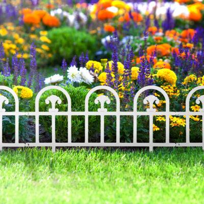Virágágyás szegély/kerítés (fehér, boltív) 10 darab/csomag