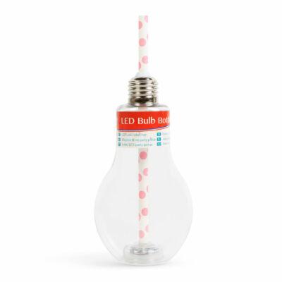 Világító LED-es party pohár - papír szívószállal - izzókörte, átlátszó - 400 ml
