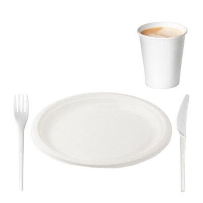 Környezetbarát grill-szett (tányér, villa, kés, pohár) 50-50 db/csomag