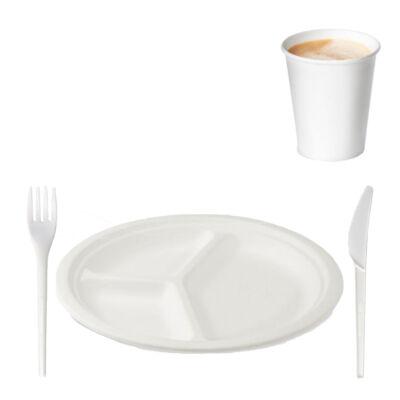 Környezetbarát gyrostál-szett (3 részes tányér, villa, kés, pohár) 50-50 db/csomag